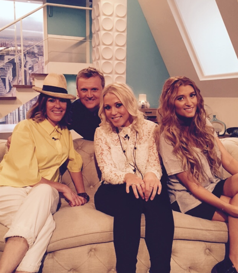 On the sofa with Charley Webb and Amelia Lily for Aled Jones Weekend show